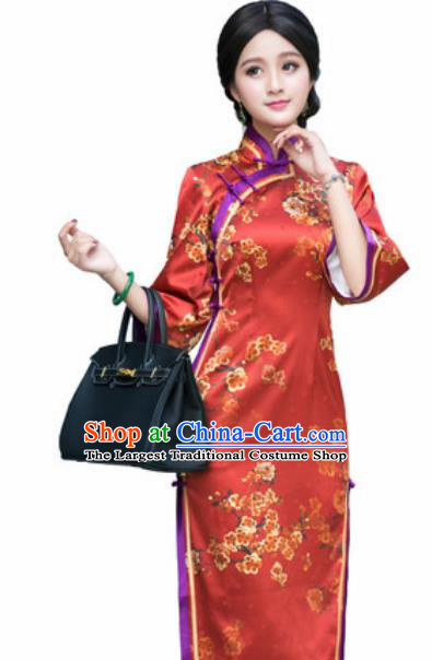 Chinese Traditional Printing Plum Blossom Silk Cheongsam Tang Suit Qipao Dress National Costume for Women