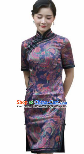 Chinese Traditional Printing Purple Silk Cheongsam Tang Suit Qipao Dress National Costume for Women