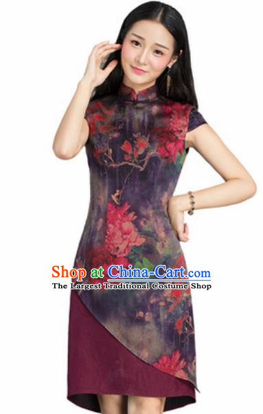 Chinese Traditional Printing Peony Purple Silk Cheongsam Tang Suit Qipao Dress National Costume for Women
