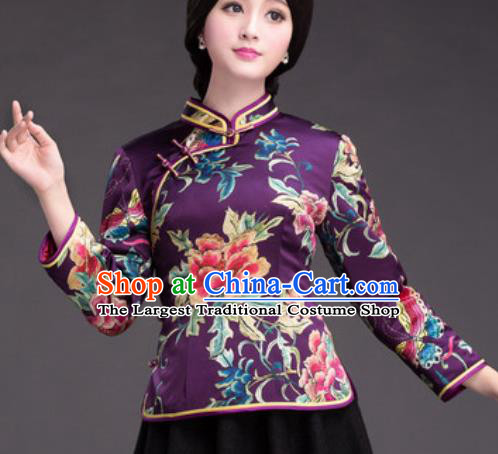 Chinese Traditional Printing Peony Purple Silk Blouse Tang Suit Upper Outer Garment National Costume for Women