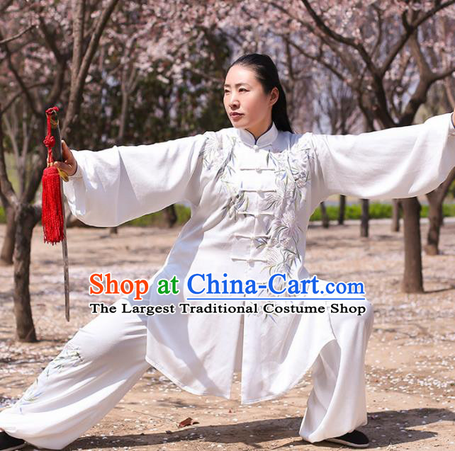 Chinese Traditional Martial Arts Competition Costume Kung Fu Tai Chi Embroidered Bamboo White Clothing for Women