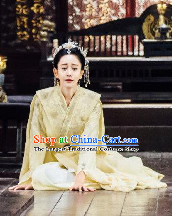 Chinese Ancient Drama Empress Hanfu Dress Sui Dynasty Queen Dugu Embroidered Historical Costume and Headpiece Complete Set