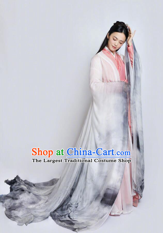 Traditional Chinese Spring Festival Gala Dance Hanfu Dress Ancient Peri Replica Costume for Women