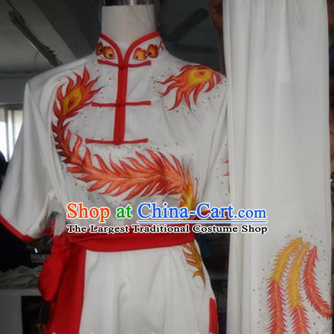 Chinese Traditional Kung Fu Costume Martial Arts Tai Chi Embroidered Phoenix White Clothing for Women