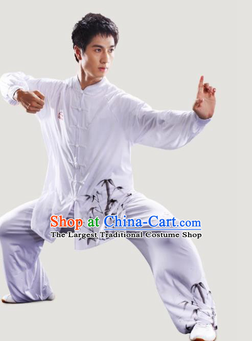 Chinese Traditional Kung Fu Competition Printing Bamboo White Costume Tai Chi Martial Arts Clothing for Men