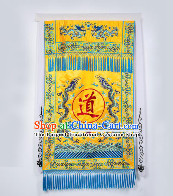 Chinese Traditional Taoism Feng Shui Items National Taoist Embroidered Yellow Flag
