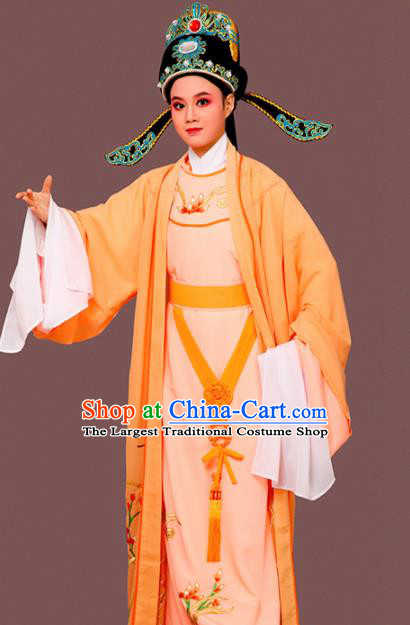 Chinese Traditional Peking Opera Embroidered Orchid Orange Robe Beijing Opera Niche Costume for Men