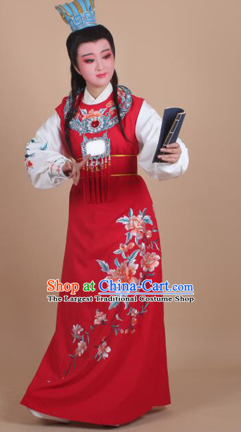 Chinese Traditional Peking Opera Jia Baoyu Embroidered Red Robe Beijing Opera Niche Costume for Men
