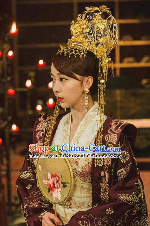 Drama Queen Dugu Chinese Ancient Northern Zhou Dynasty Empress Yang Lihua Historical Costume and Headpiece for Women