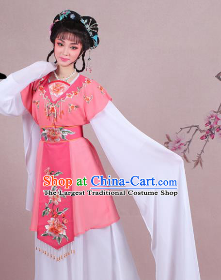 Chinese Traditional Shaoxing Opera Court Maid Embroidered Rosy Dress Beijing Opera Maidservants Costume for Women