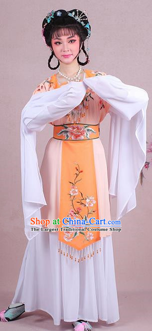 Chinese Traditional Shaoxing Opera Court Maid Embroidered Orange Dress Beijing Opera Maidservants Costume for Women