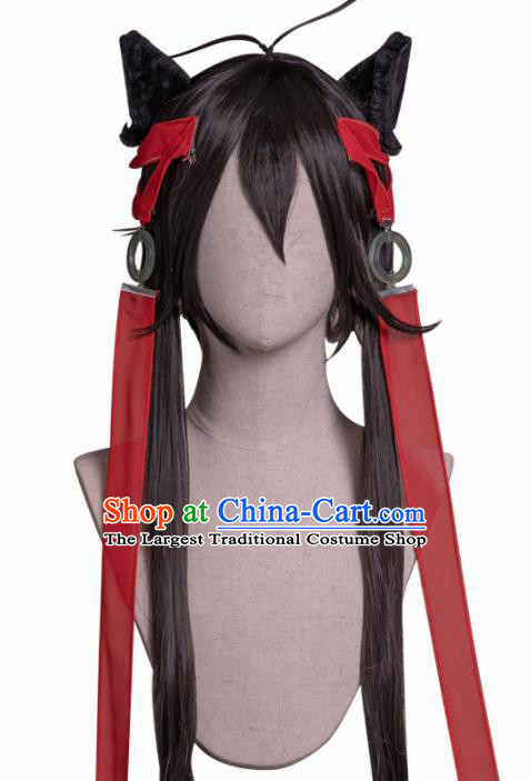 Chinese Traditional Cosplay Knight Wigs Halloween Swordsman Wig Sheath for Men