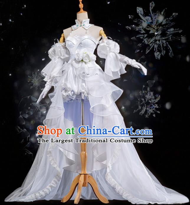 Traditional Halloween Cosplay Swordswoman Costume Chinese Ancient Peri White Hanfu Dress for Women