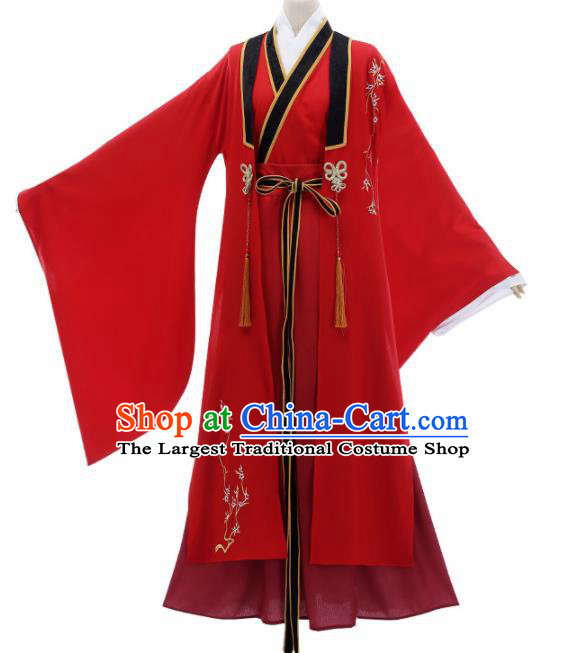 Chinese Traditional Cosplay Knight Nobility Childe Red Costume Ancient Swordsman Hanfu Clothing for Men
