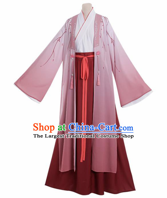 Chinese Traditional Cosplay Knight Nobility Childe Pink Costume Ancient Swordsman Hanfu Clothing for Men