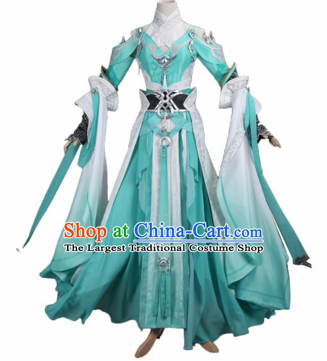 Chinese Traditional Cosplay Princess Costume Ancient Tang Dynasty Swordswoman Green Hanfu Dress for Women