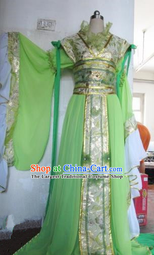 Chinese Traditional Cosplay Peri Princess Costume Ancient Imperial Consort Green Hanfu Dress for Women