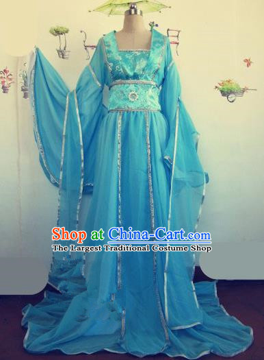 Chinese Traditional Cosplay Apsaras Costume Ancient Tang Dynasty Imperial Consort Blue Hanfu Dress for Women