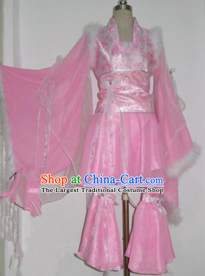 Chinese Traditional Cosplay Swordswoman Princess Costume Ancient Peri Pink Hanfu Dress for Women