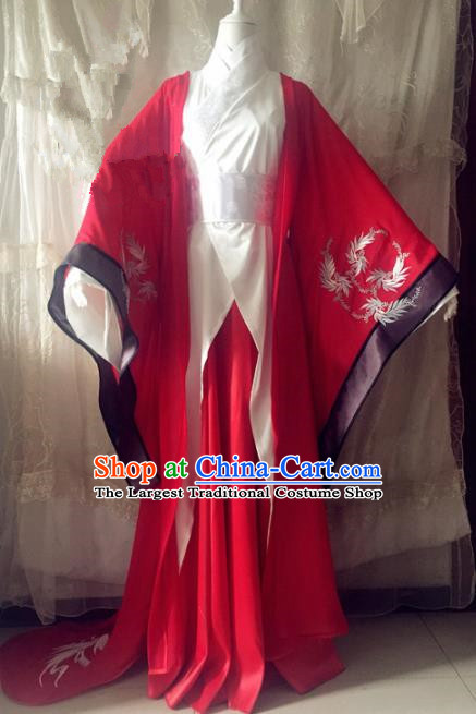 Chinese Traditional Cosplay Prince Wedding Costume Ancient Swordsman Red Hanfu Clothing for Men