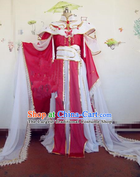 Chinese Traditional Cosplay Princess Red Costume Ancient Swordswoman Palace Lady Hanfu Dress for Women