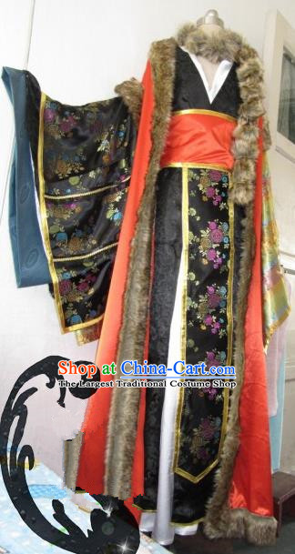 Chinese Traditional Cosplay Queen Black Costume Ancient Swordswoman Palace Lady Hanfu Dress for Women