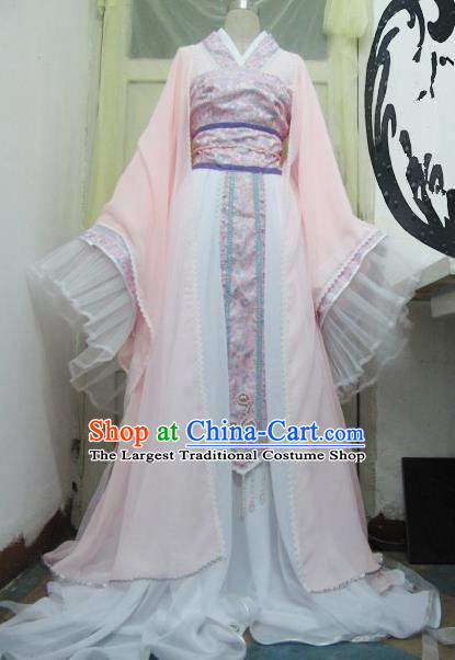 Chinese Traditional Tang Dynasty Princess Costume Ancient Peri Pink Hanfu Dress for Women