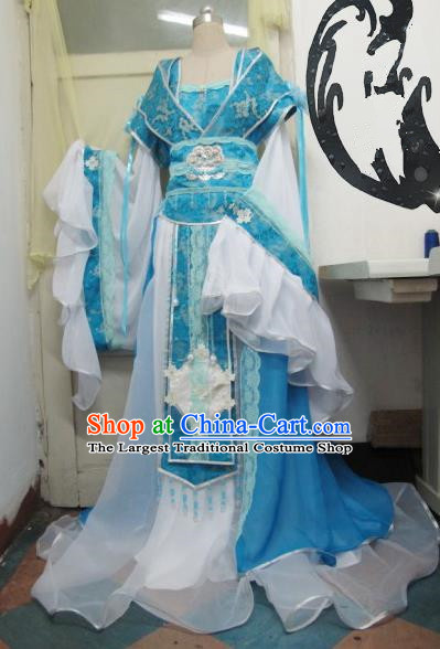 Chinese Traditional Tang Dynasty Court Queen Costume Ancient Peri Blue Hanfu Dress for Women