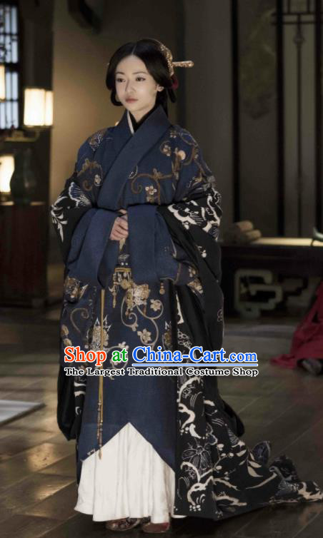 The Lengend of Haolan Chinese Ancient Warring States Period Qin State Imperial Consort Embroidered Historical Costume and Headpiece for Women
