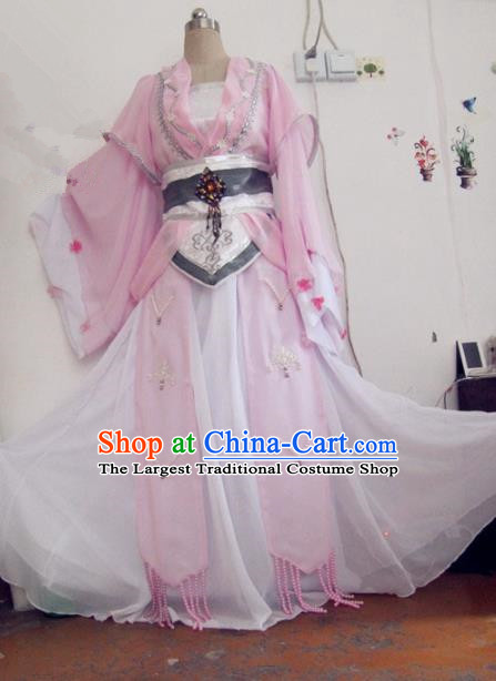 Chinese Traditional Cosplay Swordswoman Costume Ancient Peri Goddess Pink Hanfu Dress for Women