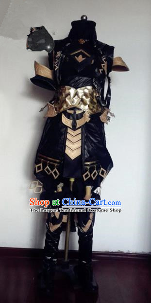 Chinese Traditional Cosplay Knight Black Armour Costume Ancient Swordsman Hanfu Clothing for Men