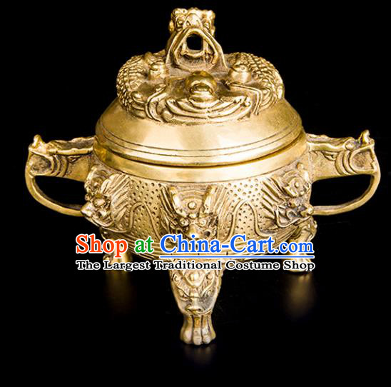 Chinese Traditional Taoism Carving Dragon Brass Toad Incense Burner Feng Shui Items Bagua Censer Decoration