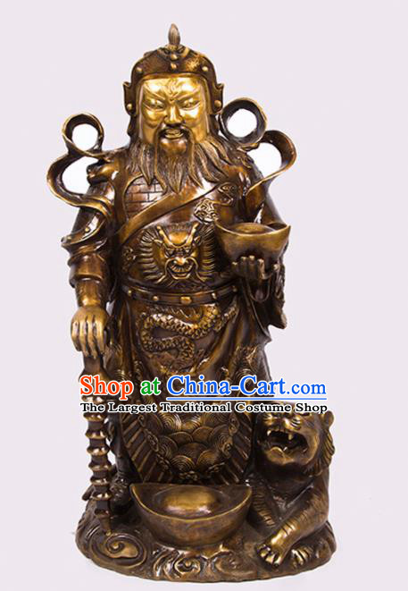 Chinese Traditional Feng Shui Items Bagua Decoration Taoism Wealth God Brass Statue