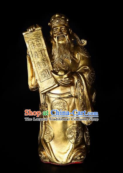 Chinese Traditional Feng Shui Items Taoism Bagua Decoration Wealth God Brass Statue