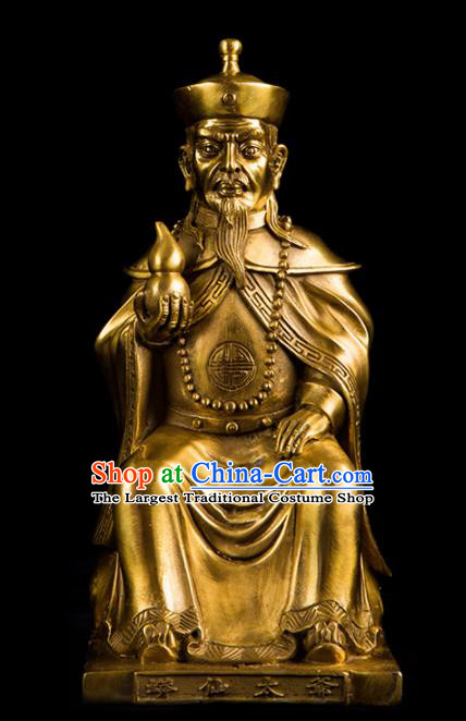 Chinese Traditional Feng Shui Items Taoism Bagua Decoration Brass God Statue