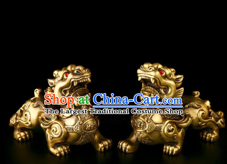 Chinese Traditional Feng Shui Items Taoism Bagua Brass Pi Xiu Decoration