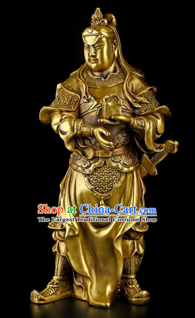 Chinese Traditional Feng Shui Items Taoism Brass God Erlang Statue Decoration