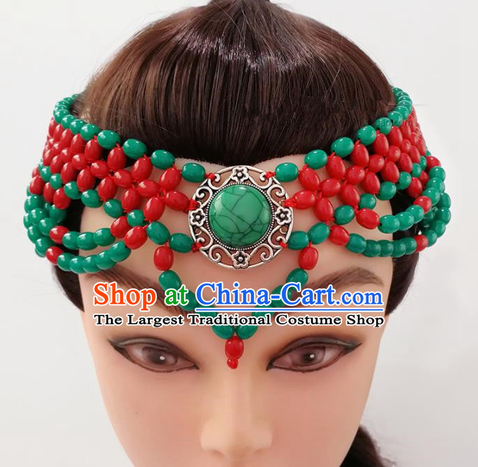 Chinese Traditional Mongolian Ethnic Hair Accessories Mongol Nationality Green Beads Hair Clasp for Women