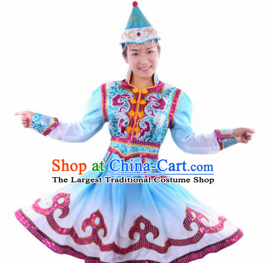 Chinese Traditional Mongolian Folk Dance Blue Dress Mongol Nationality Ethnic Costume for Women