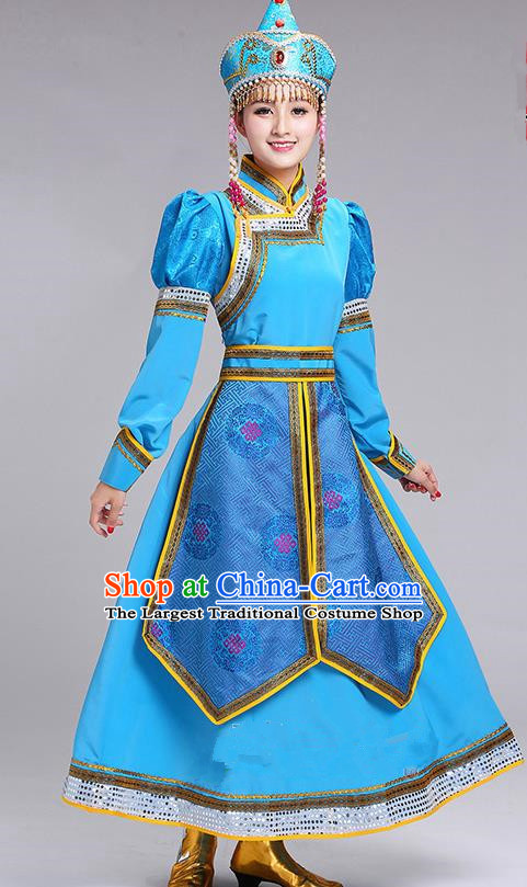 Chinese Traditional Mongolian Princess Folk Dance Blue Dress Mongol Nationality Ethnic Costume for Women
