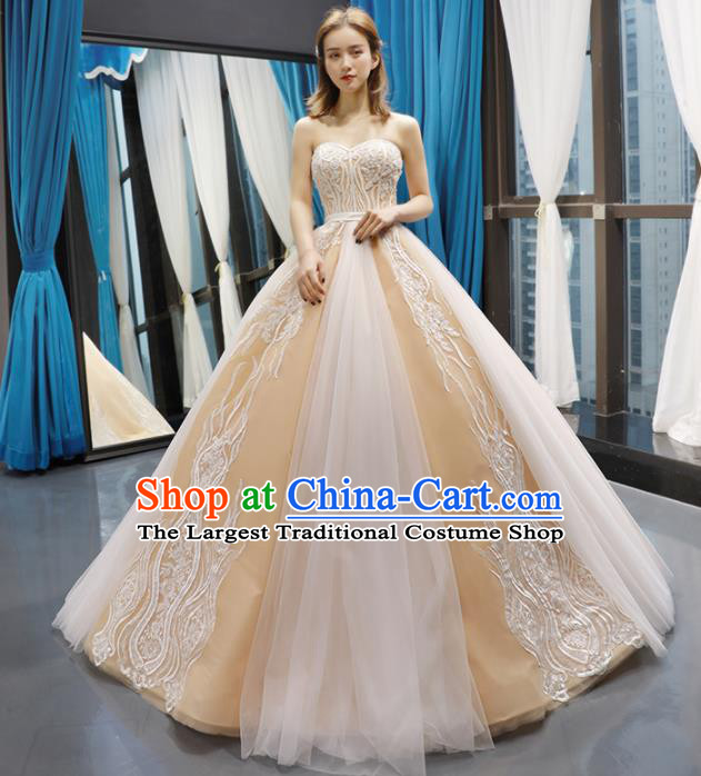 Top Grade Compere Champagne Bubble Full Dress Princess Wedding Dress Costume for Women
