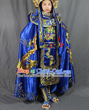 Chinese Traditional Sichuan Opera Embroidered Royalblue Costume Face Changing Clothing Complete Set for Men