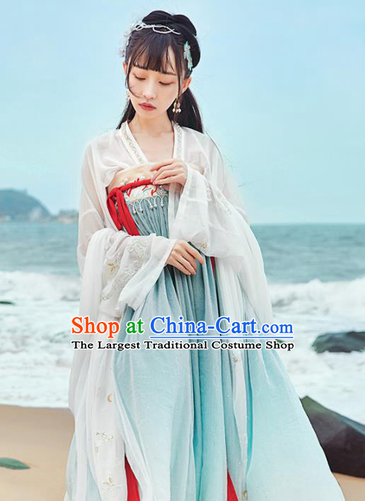 Chinese Traditional Tang Dynasty Hanfu Dress Ancient Palace Princess Embroidered Costume for Women