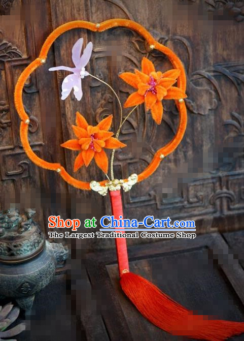 Chinese Traditional Palace Fans Ancient Queen Orange Velvet Lotus Round Fans for Women