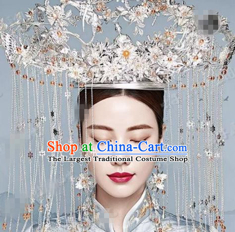 Chinese Traditional Handmade Luxury Argent Phoenix Coronet Ancient Wedding Hair Accessories Complete Set for Women