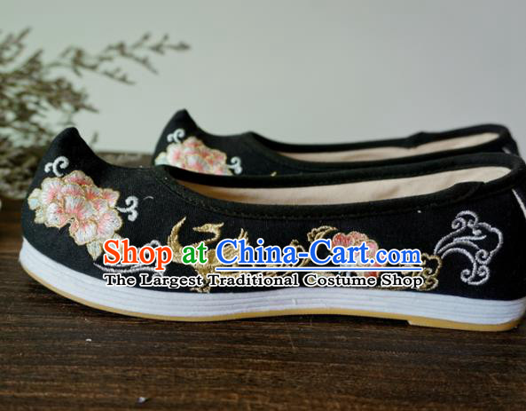 Asian Chinese Wedding Black Cloth Hanfu Shoes Traditional Ancient Princess Embroidered Shoes for Women