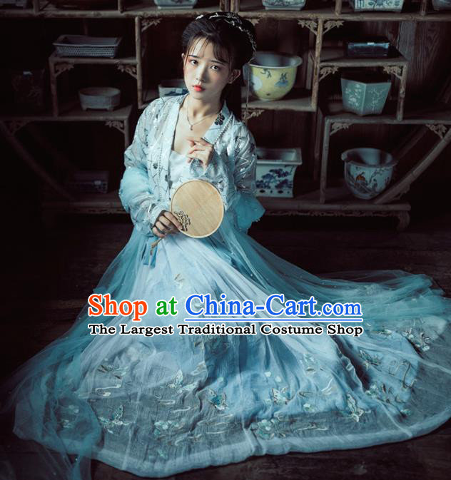 Chinese Traditional Tang Dynasty Court Princess Hanfu Dress Ancient Peri Embroidered Historical Costume for Women
