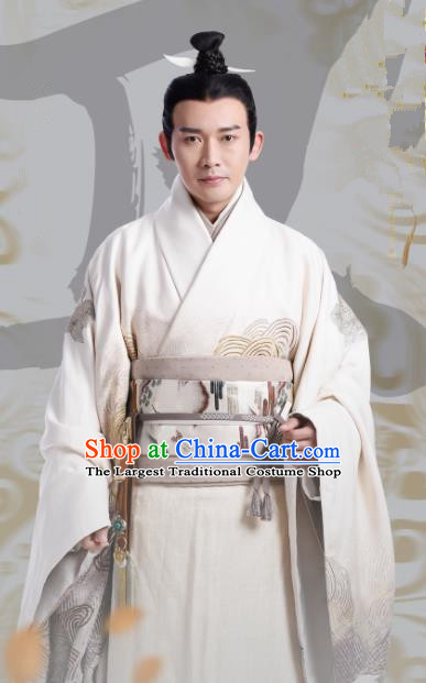 Chinese Ancient Prime Minister Lv Buwei Hanfu Clothing The Lengend Of Haolan Qin Dynasty Historical Costume for Men