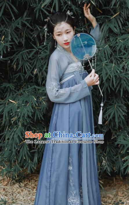 Chinese Traditional Tang Dynasty Court Lady Embroidered Historical Costume Ancient Princess Hanfu Dress for Women