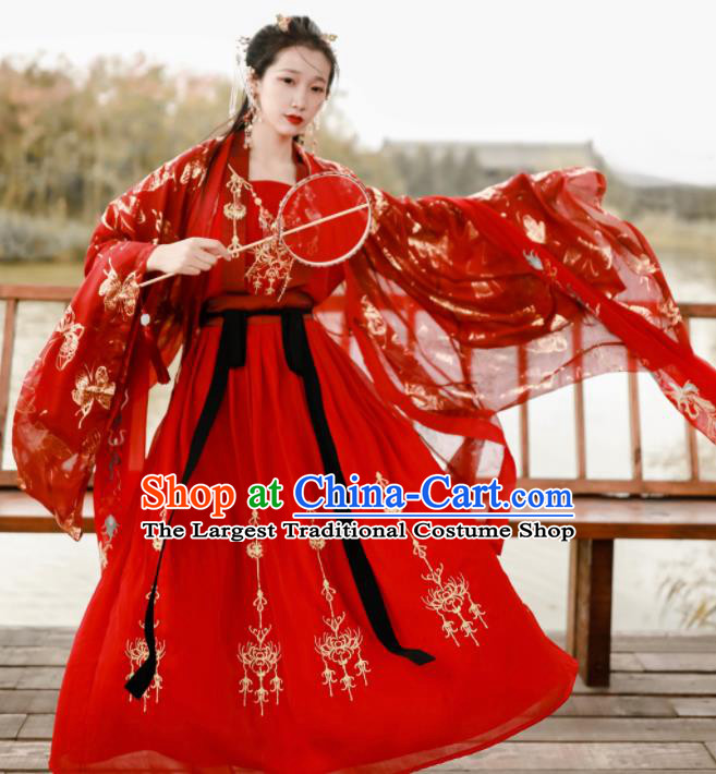 Traditional Chinese Tang Dynasty Wedding Embroidered Historical Costume Ancient Princess Red Hanfu Dress for Women